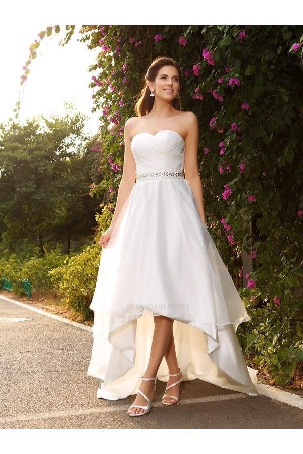 Custom Made Morden High Low Wedding Dress Strapless High Low Wedding Dresses Beaded Sweetheart Beach Wedding Dresses