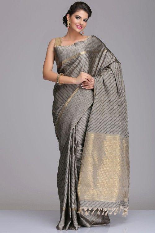 Grey Kanjivaram Pure Silk Saree With Striped Pattern And Real Zari