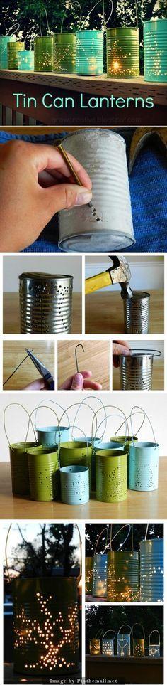 De blikken kan je ook gebruiken als theelichthouders.  Gaatjes inkloppen met een nagel en hamer, verven, kaarsje insteken en klaar!