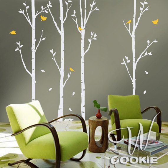 Birch Trees and Birds  Nursery Wall Decal by wcookie on Etsy, $86.00