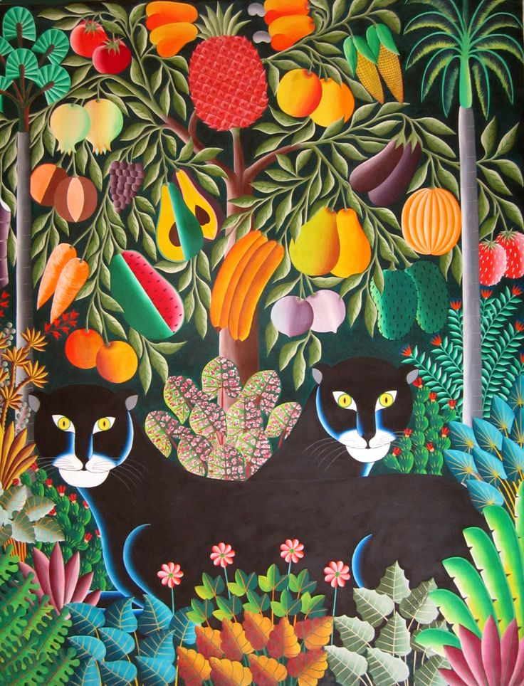Tree of Life is in full bloom, ripe with fruit. Brother black cats sit as Guardians under this lush canopy. Maxo studied under the late Gabriel Alix, a First generation Haitian artist.