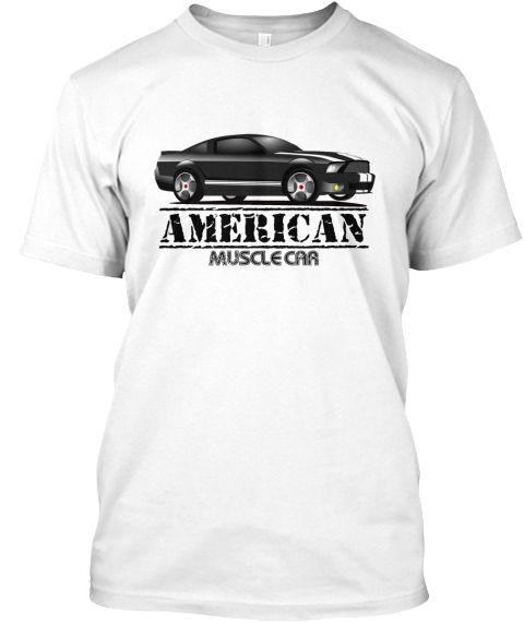 American Muscle Car White T-Shirt Front
