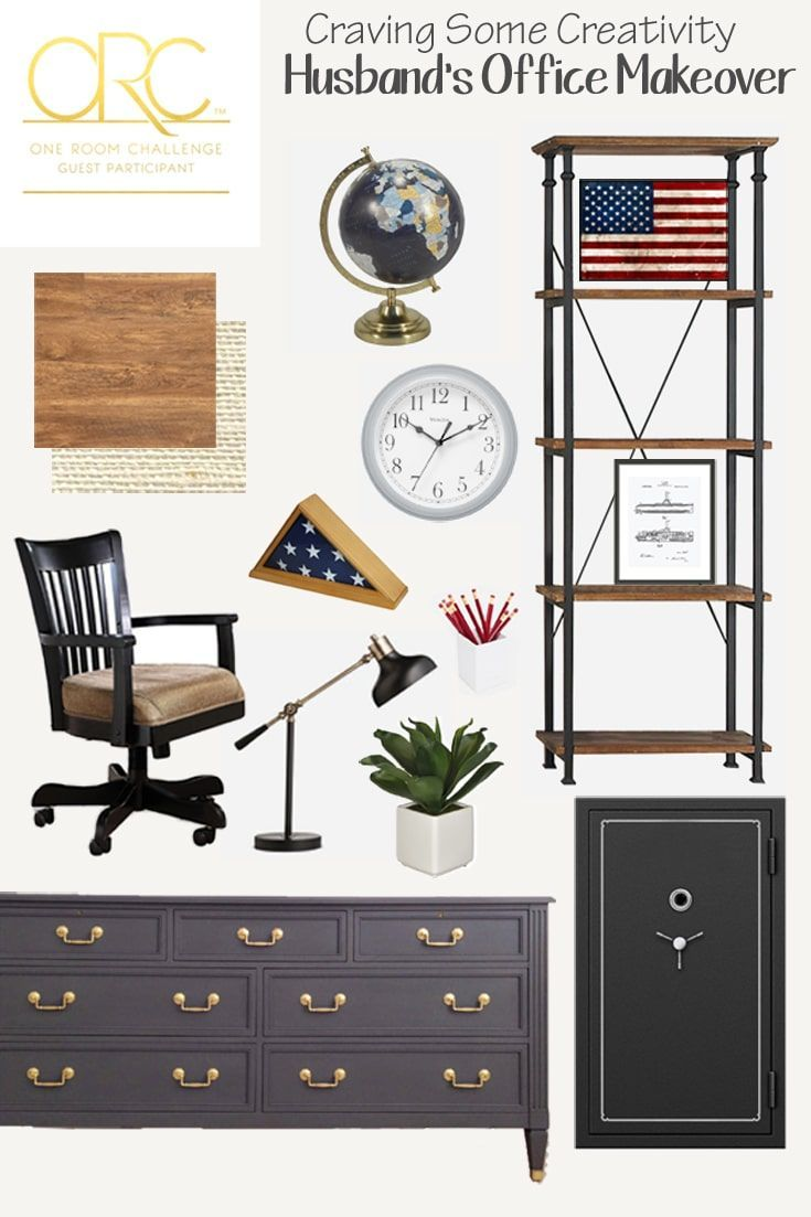 Masculine Office Beautiful Industrial Design Setup For A Man S Office With Patriotic And Rugged Touches Th Male Office Decor Masculine Office Office Makeover One room challenge installation