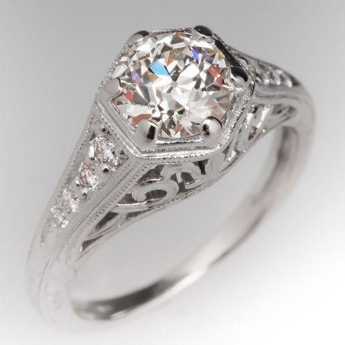 1 Carat Old European Cut Diamond Filigree Ring