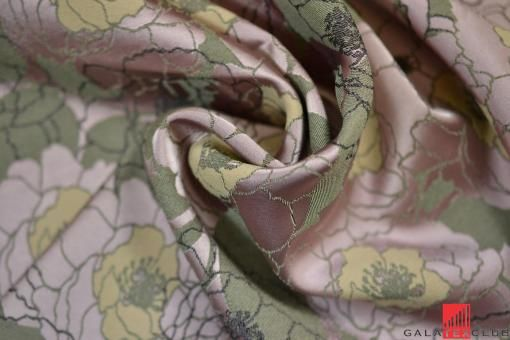 Ткань жаккардовая, контуро-цветочный стиль, розовые хаки, Max Mara