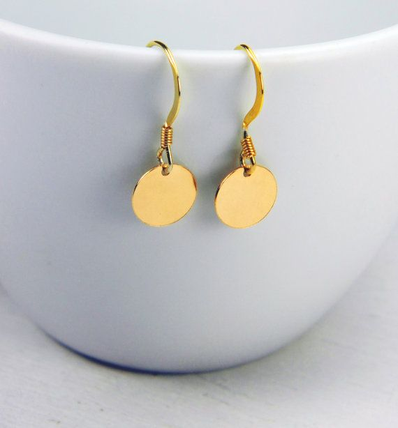Round disk earrings / Minimalist Jewelry / by BarakaCustomJewelry