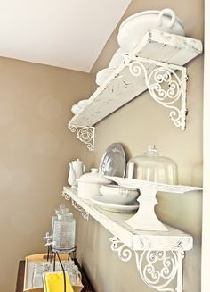 Shabby chic DIY shelving. (with those pretty brackets like at anthro) (scheduled via http://www.tailwindapp.com?utm_source=pinterest&utm_medium=twpin) #shabbychickitchenfrench #shabbychickitchencountry #DIYHomeDecorShabbyChic
