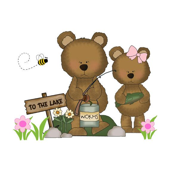FISHING TEDDY BEAR Decal Wall Art Mural Nursery Woodland Stickers Baby Girl Forest Animal Creatures Kids Hunting Room Children's Bedroom #decampstudios