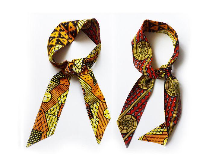 bandeau / foulard / ceinture * réversible * wax orange & jaune : Accessoires coiffure par ahome