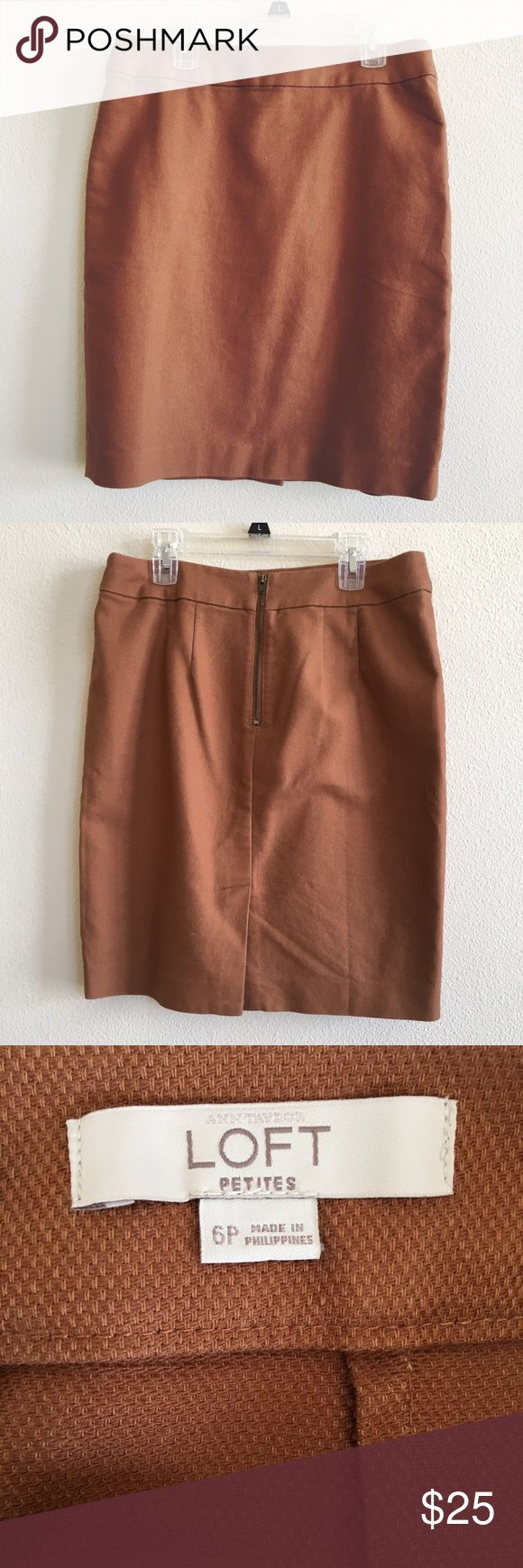 LOFT Brown Pencil Skirt A classic camel brown pencil skirt with back zipper. In perfect condition. LOFT Skirts Pencil