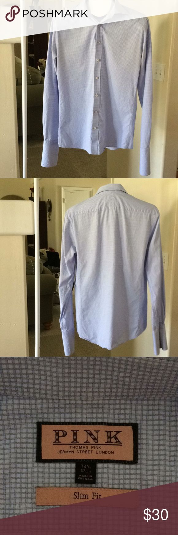 """Thomas Pink Men's Shirt Blue Gingham Sz 14 1/2 Thomas Pink Men's Shirt Blue Gingham Sz 14 1/2 Length: 26"""" from top of shoulder to bottom of the front part of the shirt. 28"""" in the back Chest: 36"""" laying flat 18 inches Thomas Pink Shirts Dress Shirts"""