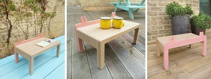 "Mini table for kid, birch plywood, ""CRABE PINCE"", petite table basse pour enfant avec forme des pinces de crabes, 집게집게 어린이 미니 티테이블 바나나요크 디자인 bananayolk.com"