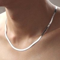 Wish | 925 Sterling Silver Fashion  Women Men Fine Jewelry Bijoux  Homme Colliers Super Flash Flat Snake Chains Jewelry (Color: White)