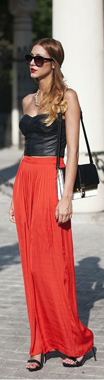 Great Combo: leather top, orange maxi skirt