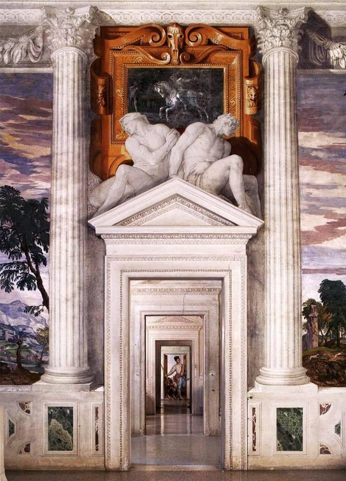 Sala do Olimpo - Paolo Veronese - Villa Barbaro, situada em Maser, Província de Treviso, Itália O coração da casa, a sala central, onde a senhora Barbaro esta a espera na balaustrada, pintada por Paolo Veronese, sob a abóboda de afrescos, onde estão representados os deuses do Olimpo. O olhar se expande em todas as direções, revelando as perspectivas reais dos quartos que se abrem em sucessão sobre as portas, ao exterior para o Ninfeu, ou no alto em direção à abóboda. À estas são adicionada