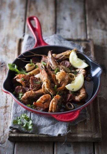 Portuguese Peri-Peri Prawns, Calamari and Chorizo recipe on www.nomu.co.za