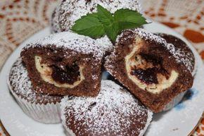 Hrnčeková muffiny s tvarohom a slivkovým lekvárom
