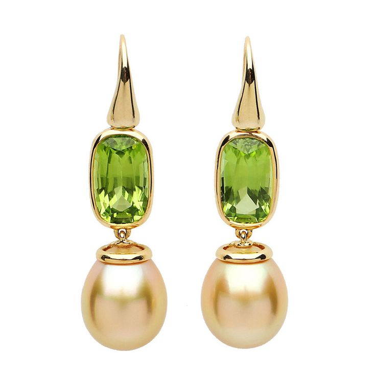 Peridot and South Sea pearl earrings | From a unique collection of vintage drop earrings at http://www.1stdibs.com/jewelry/earrings/drop-earrings/