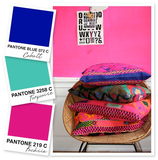 Cobalt, Turquoise, and Fuchsia Color Palette by Sarah Hearts. This could work in marrying the two distinct color tastes of my twin girls!