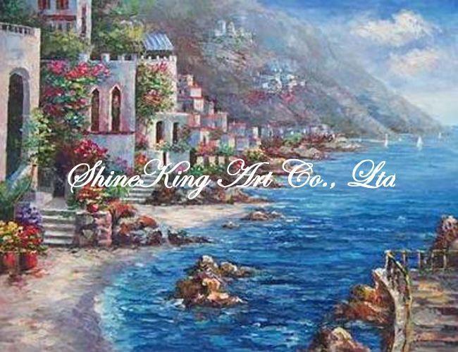 Handmade картина маслом на холсте impressional морской пейзаж средиземное море художественная роспись MED1055 50 x 60 см