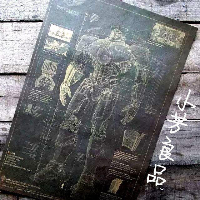 Тихоокеанская цыганский опасность мехвоин робот чертежи pating бар дома декор стены ретро арт-mail 42 * 30 см