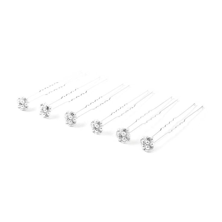 Crystal and Pearl Cluster Hair Pins Set of 6