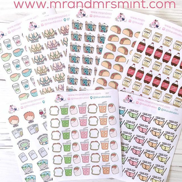 Some of our hand drawn planner sticker releases by Mr and Mrs Mint.  www.mrandmrsmint.com