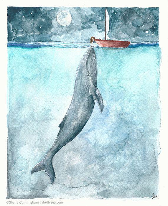 Heart of the Sea - watercolor illustration print - Whale ocean nightsky boat girl moon nautical ocean themed watercolor print