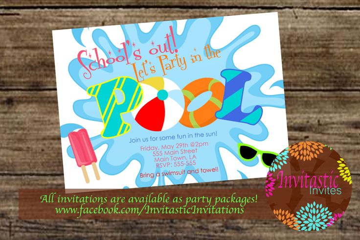 Pool Party End of the School year party by InvitasticInvites