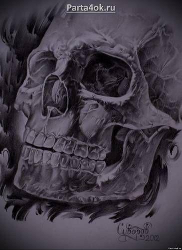 Афигенно реалистичный эскиз для татуировки череп - Тату реализм - Стили тату - фотографии татуировок, каталог фото тату и пирсинга - Татуировки - фото, новости, статьи, эскизы тату