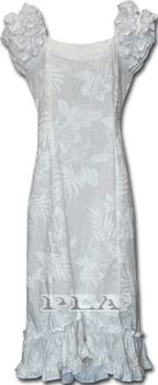 Wedding Hawaiian Muumuu (White)Collection Hibiscus100% Cotton