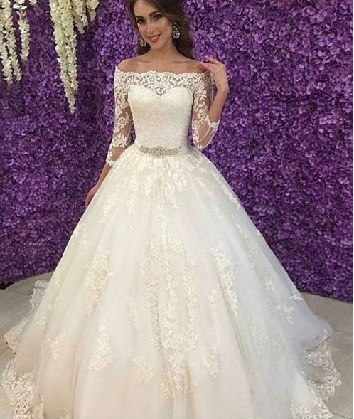 Fashion Off Shoulder 3/4 Long Sleeves Lace Wedding Dress