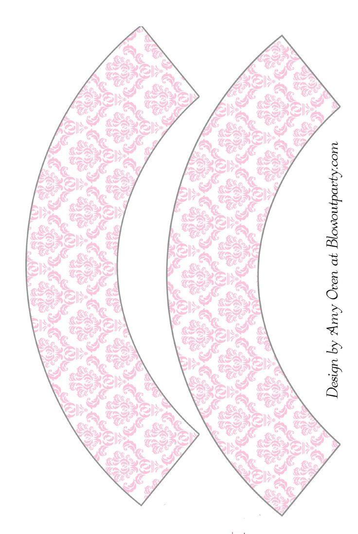Pink Damask Free Printable Cupcake Wrapper