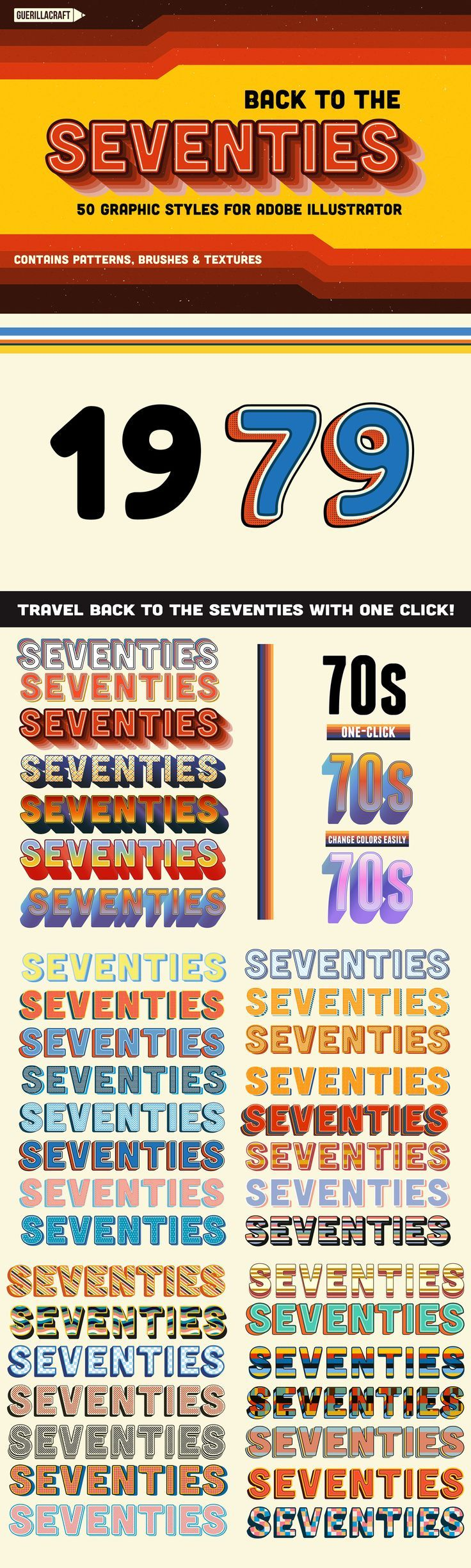 Back to the Seventies is a collection 57 Graphic Styles for Adobe Illustrator. With one click you can make beautiful typography effects inspired by 70s pop culture. Extremely time-saving if you are working on posters or web graphics. With this collection
