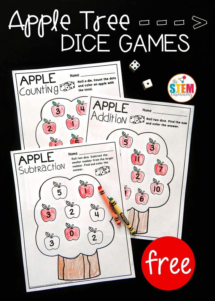 Apple Tree Dice Game! A fun back to school game, a perfect hands-on activity to work on subtraction or addition with preschool and kindergarten. Even works great for a math review with first grade. Great for fall time or an apple unit!
