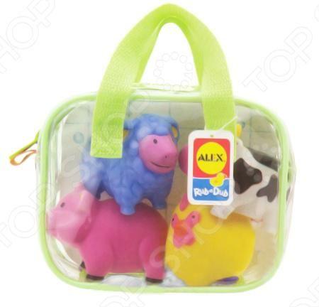 Alex «Ферма»  — 671р. ------------------------------------------ Игрушки для ванны ALEX Ферма - составят Вашему малышу компанию в ванной и сделают процесс купания еще более весёлым. Смешные разноцветные животные могут плавать по поверхности воды и радовать кроху. Хранить игрушки можно в удобной пластиковой сумочке. В набор входит 4 игрушки.