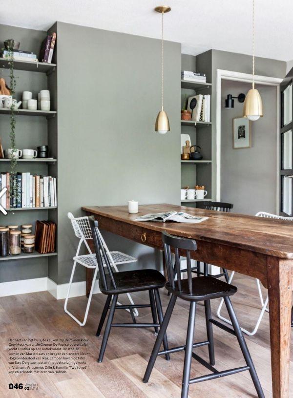 Mooie combi muur tafel met stoelen groen hout zwart for Witte moderne stoelen
