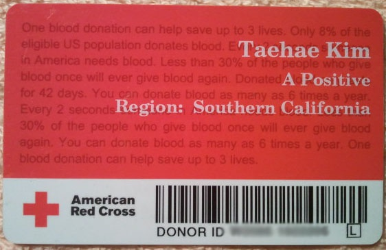 American Red Cross Donor Card | I HAVE ... | Pinterest | American ...
