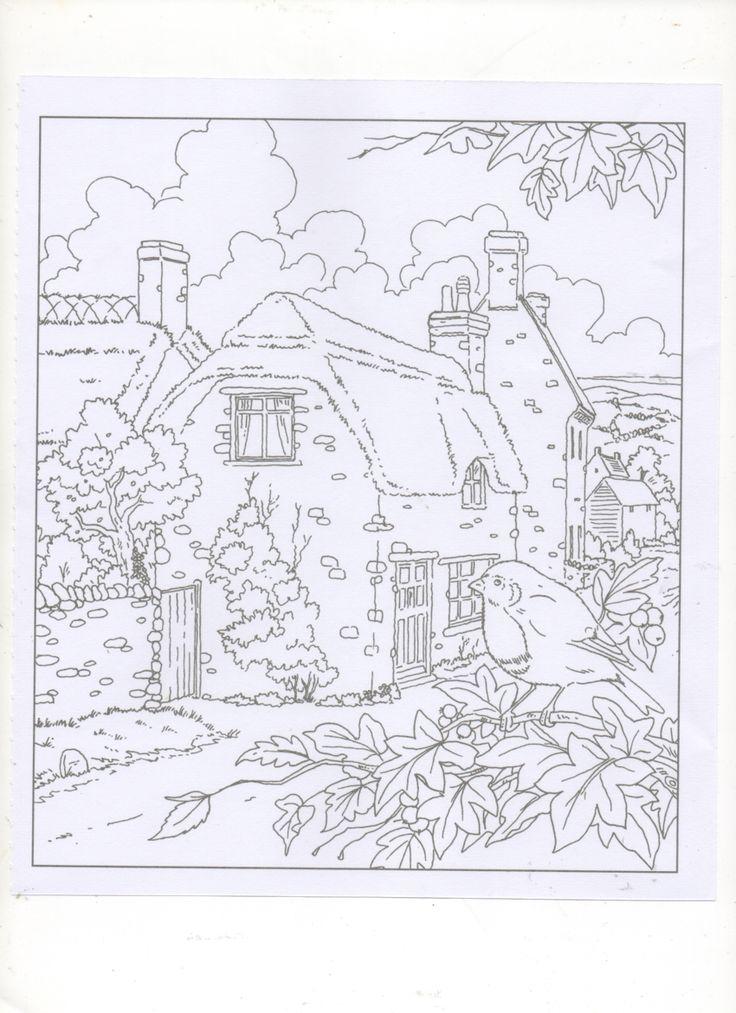 Background Ideas Coloring Pages Books Country Cottages Sketches Landscape Crayon Art Paisajes To Color