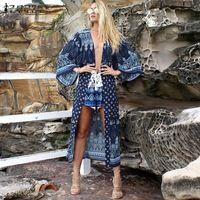 Негабаритных 2016 ZANZEA Женщины Vintage Повседневная Свободные Длинные Пиджаки Шаблон Печати Flare Рукава Блузки Рубашки Сексуальный Пляж Кардиган Топы