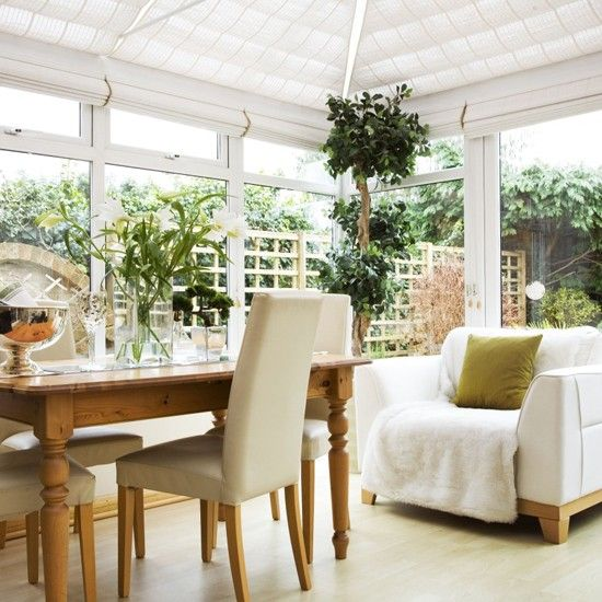 Space and light and sun shade... White conservatory