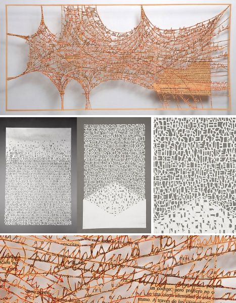Pablo Lehmann's incredible paper creations consist of layered sheets of paper, hand-cut with text and abstract shapes and stacked for a three-dimensional effect. The Buenos Aires, Argentina-based artist has shown his work at galleries in South America.
