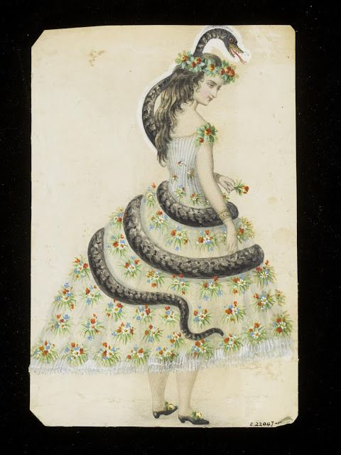 Eve & the Serpent fancy dress costume design sketch, ca. 1860 | In the Swan's Shadow