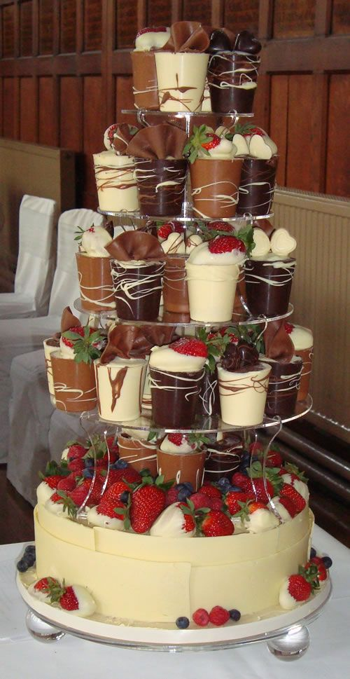 chocolate cup tower - delicious!~yummmy ABSOLUTELY having this at  the wedding day! yup #chocolatelover