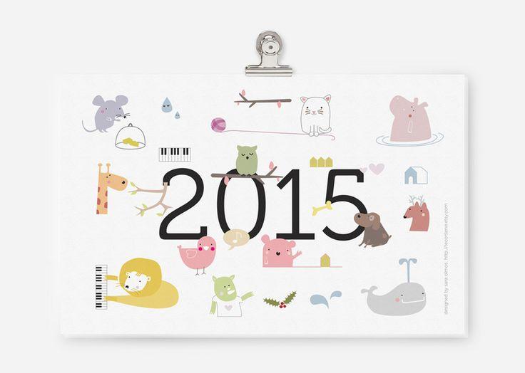 PDF printable - 2015 Kalender von teconlene auf DaWanda.com
