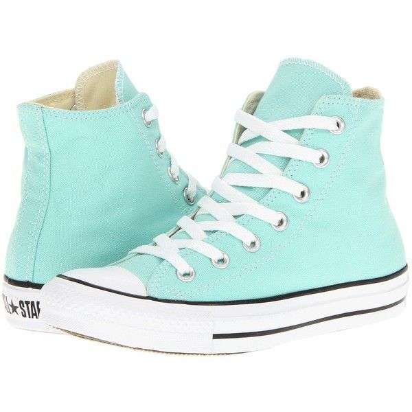 Converse Chuck Taylor® All Star® Seasonal Hi ($44) ❤ liked on Polyvore featuring shoes, sneakers, converse, blue, beach glass, sneakers & athletic shoes, metallic high top sneakers, lace up sneakers, high top sneakers and converse high tops