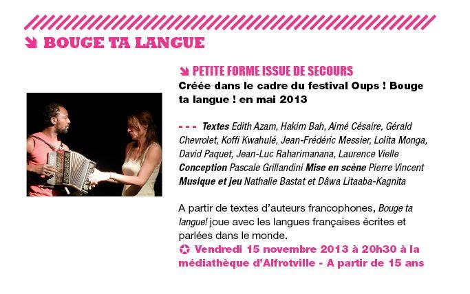 Bouge ta langue par la Cie Issue de secours Médiathèque d'Alfortville 15 novembre 2013 20 heures 30