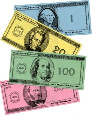 Do you need play money? This site has everything you need...Free! Print on card stock for durability.