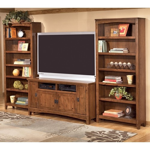 Cross island 60 inch tv stand 2 large bookcases by for Media center with bookshelves