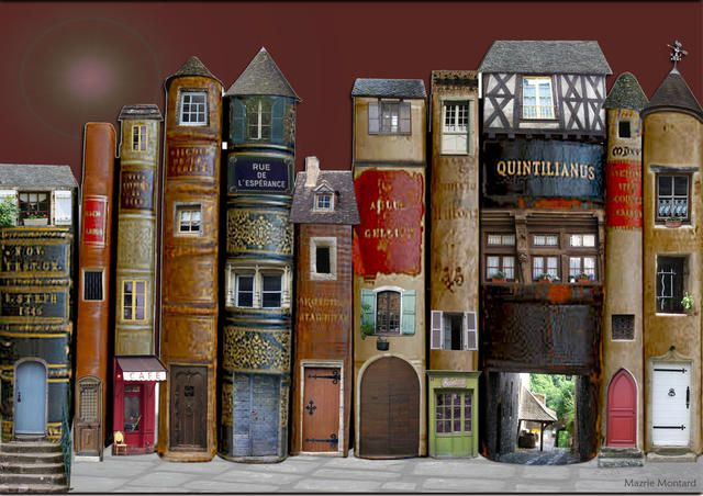 Village of Books...hmmm....combine this with the secret book safe centers, and you could have real glass/acrylic windows that light up, just by running twinkle lights in them.  Could also use the hidden storage box idea that just takes the fronts of books and glues them to a box, but I like idea of the row of hollow books with lights or other treasures in them better.